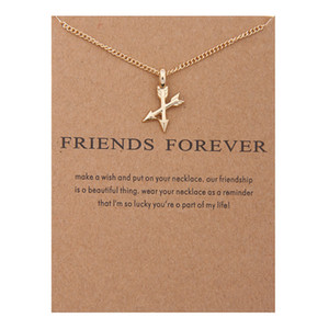 Wholesale silver neckalces resale online - Arrow Pendant Necklace Double Arrows Pendant Neckalces for Women Gold Silver Color Alloy Pendant Jewelry Holiday Gift