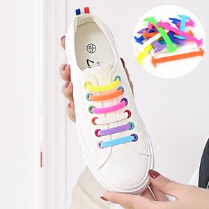 Wholesale Creative Design Unisex Women Men Athletic Running No Tie Shoelaces Elastic Silicone Shoe Lace All Sneakers Colors Optional set