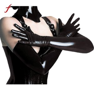 Wholesale Latex Gothic Fetish Clubwear Long Gloves Women s Sexy Gloves Black Faux Leather Hip hop Jazz Dancing Prop Mitts Adult Games Toys
