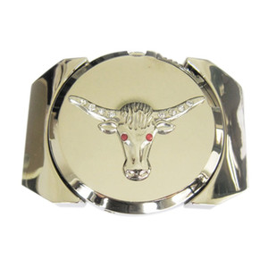New Bright Silver Rhinestone Longhorn Bull Lighter Western Wildlife Vintage Wedding Cosplay Costume Belt Buckle Gurtelschnalle Boucle