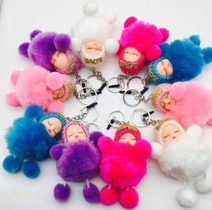 Wholesale Lovely Mini Sleeping Baby Doll Hair Ball Key Ring Plush Doll Keychain Cute Christmas Gift Birthday Girls Boys Car Phone Bag Key Pendant