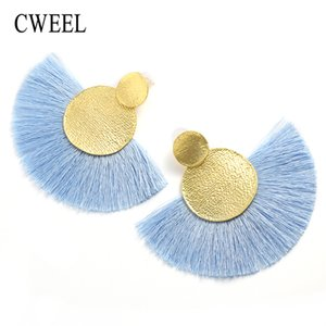 Wholesale CWEEL Fashion Tassel Earrings for Women Big Fringe Earings Fashion Jewelry Female Summer Style Ethnic Hanging Drop Earrings