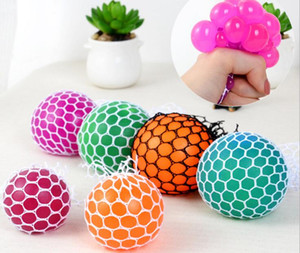 Wholesale Anti Stress Mesh Face Reliever Grape Ball Autism Mood Squeeze Relief Healthy Toy Funny Gadget Vent Decompression toys Gifts