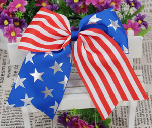 Wholesale 10 Inch th of July Hair Bow Exclusive Patriotic Cheer Bows American Flag Hair Bows for Cheerleading Girls with Elastic Hair Bands