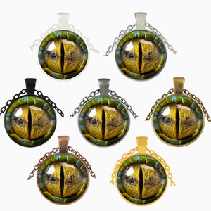 Wholesale 3D Dragon Eye Necklace Time Gemstone Man Woman Glass Cabochon Dome Jewelry Pendant Party Favor Arts Crafts Gifts jj bb
