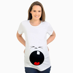Wholesale Cartoon Funny Maternity Shirts Tops Pregenancy Clothes Short Sleeve Cotton emoji Print Pregnant T Shirt Women Mothers Clothes