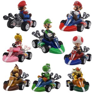 Wholesale Mario Bros Figures Cm Japan Anime Luigi Dinosaurs Donkey Kong Bowser Kart Pull Back Car Pvc Figma Kids Hot Toys for Boys