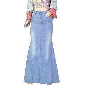1eec021604 Mopping the floor Fashion Elegant Mermaid Fishtail Long Denim Skirts Casual  Vintage Split Stretch Jeans Maxi