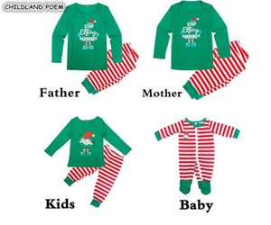 Wholesale Family Christmas Pajamas Set Family Matching Sleepwear Xmas Pjs Stripe Mother Daughter Father son Outfits Look Nightwear