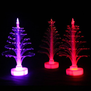 Wholesale LED Light Up Christmas Tree Colorful Discoloration Plastic Optical Fiber Ornament For Xmas Decoration Gift New Arrival rl B