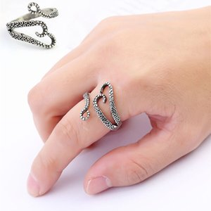 Wholesale New Arrival PC Punk Style Titanium Steel Unisex Silvery Boys and Girls Octopus Devilfish Rings Fashion Jewelry