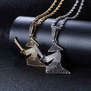 Wholesale New Character Warrior Holds The Sword Man Pendant Necklace the Black and White Zircons Hip hop Necklace