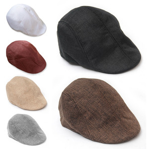Wholesale 2018 Winter Brand Hot Beret Hat For Man Baker Boys Causal Beret Flat Cap Peaked NewsBoy Berets Hip Hop Country Hat Linen