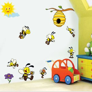 Wholesale Cute Cartoon Bee D Wall Stickers For Kids Rooms Decoration Lovely Honey Bee Viny Wall Art Decals Murals Diy Nursery Home Decor