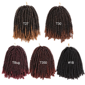8 inch Crochet Braids Ombre Spring Twist Hair Kanekalon Synthetic Hair Extensions Braids 110g pack for women