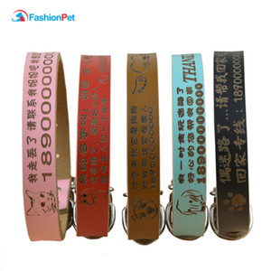 Wholesale Luxury Genuine Leather Plain Pet Personalized Collar Lettering Pet Cat Puppy Dog Name Collar Colors