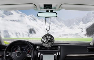 Wholesale For Game of Thrones House Stark Winter Is Coming Car Rear View Mirror Car Pendant Car Styling Accessories Automobiles Decoration