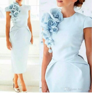 Light Blue Arabic Short Sleeves Sheath Cocktail Party Dresses Floral Tea Length Formal Party Evening Dresses 2018 Cheap Prom Gowns on Sale