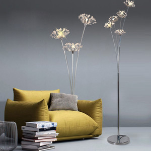 Clear Crystal Floor Lamp G4 LED Dandelion Floor Light for Bedroom Living Room Luminaire Standing Lamp