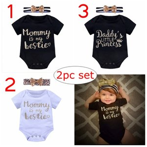 Wholesale quot Mommy is my bestie quot ins summer infant black white gold letter print romper with baby striped headband years free ship