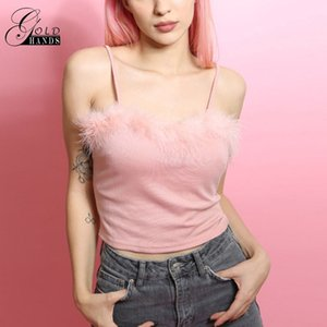Gold Hands Women Camisole Vest Summer Slim Soft Pink Crop Top Female Strap Shirt Fuzzy Cropped Cmais Women Fashion Solid Vest on Sale