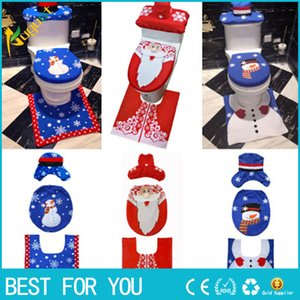 Wholesale Toilet Foot Pad Seat Cover Cap Christmas Decorations Happy Santa Toilet Seat Cover and Rug Bathroom Accessory Santa Claus Set