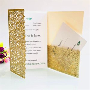 50 Pieces Full Set   Wedding Invitation Five-star Hotel Large-scale Commercial Event Hollow Colorful Greeting Card