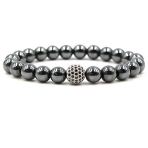 Wholesale Black Stone Hematite Bracelets mm Natural Stone Cubic Zirconia Round Ball Bracelets Bangles For Women Men Bracelets Gift