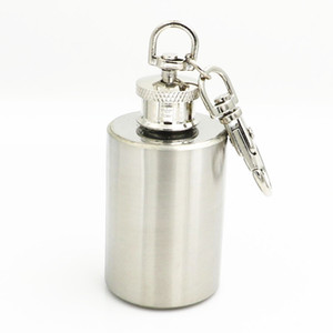 Wholesale Good Quality Portable oz Mini Stainless Steel Hip Flask Alcohol Whisky Flagon With Keychain on Promotion