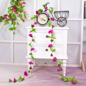 Wholesale pink rose vine for sale - Group buy Artificial Flowers Long Silk Rose Flower Ivy Vine Leaf Garland Home Wedding Decoration Hanging Garland Decorative rattan wreath flower wall