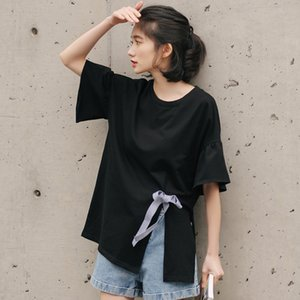 Wholesale YouG Sexy O Neck Bow T Shirt Fashion Solid Shirt Half Sleeve Polyester Tshirt Sweet Women Clothing High Street Wearing
