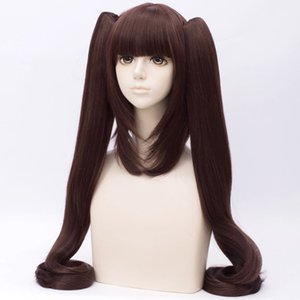 Wholesale 110CM Anime Nekopara Chocolat Red Brown Long Straight Wig Ponytails Cosplay