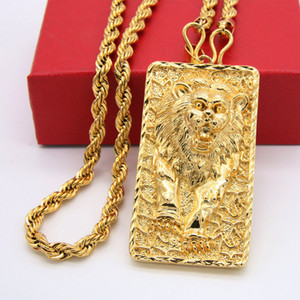 Wholesale yellow brass chain resale online - Big Lion Pattern Pendant Rope Chain Necklace k Yellow Gold Filled Solid Mens Jewelry Hip Hop Style