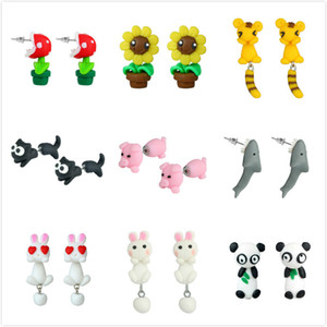 1Pair Soft Polymer Clay Mini Flower Animal Earrings Split Type Piercing Ear Rings Stud Earring Rabbit Pig Girls Novelty Jewelry Gifts on Sale