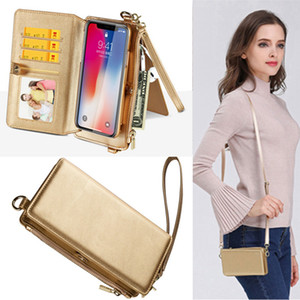 Wholesale 2018 New Arrival Multi function Handbag Leather Phone Case Bag Zipper Wallet Flip Cover With Card Slots Should Belt for iPhone Samsung