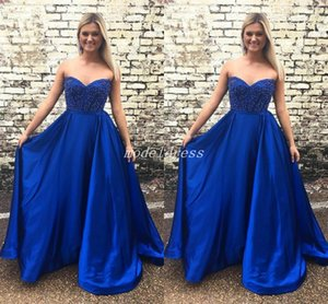 vestido de dulce corazón azul real al por mayor-2018 Royal Blue Prom Dresses Sweet Heart Backless Major rebordear vestidos de noche formal largo Vestidos Vestidos De Fiesta Graduation Wear
