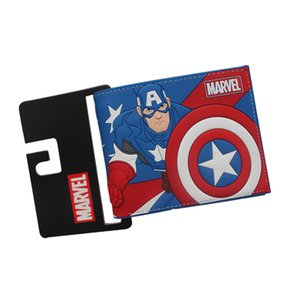Lucia_shop Big Hero CAPTAIN AMERICA Wallets Short Slim Bifold Leather purse Dollars Price Photo bolso Cards Holder Billeteras for Students on Sale