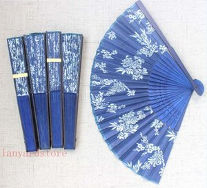 Wholesale 20Pcs Vintage Chinese Japanese Fabric Floral Spun Silk Flower Printing Hand Fan Folding Hollow Carved Hand Fan Event Party Supplies
