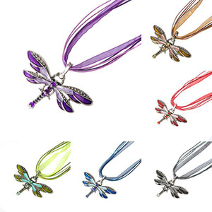 Wholesale New Enamel Crystal Dragonfly Pendant animal Charm Necklaces Organza String Sweater chain Necklace For women Fashion Jewelry