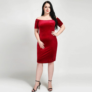 ingrosso vestito per il grasso di sera-Fat Women Red Formal Dress Off Shoulder Primavera Nuovo arrivo Boat Neck Evening Long Dress Velluto Plus Size XL