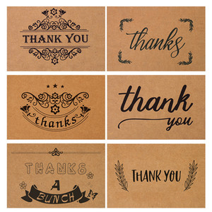 Wholesale thank cards for sale - Group buy Retro Kraft Paper Thank You Card Folding Wreath Design Print Gratitude Handwriting Greeting Cards Wedding Birthday Party Flower Shop dn