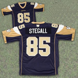 Wholesale Winnipeg Blue Bombers 85 Milt Stegall Custom Soccer Jersey Navy Gold 100% Stitched Embroidery Logos Jerseys Any Name Any Number