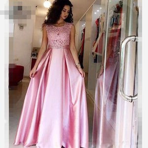 Wholesale evening dressess for sale - Group buy Pink Evening Dressess Lace Satin A Line Evening Gowns Saudi Arabia Ruched Sweep Train Formal Evening Party Dress