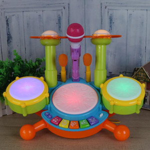 Wholesale kids percussion resale online - Baby Musical Drum Toy Kids Jazz Drum Kit Electronic Percussion Musical Instrument Children Educational Toys Gift