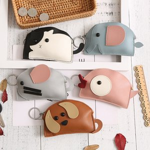Cartoon creative gift PU leather zipper purse personality lady change pocket carry key bag wholesale on Sale