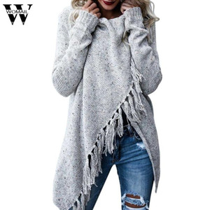 Wholesale 2017 Womail Womens Tassels Fringe Shawl Coat Tops Knitted Oversized Sweater Jumper Fall Spring nv9 m30