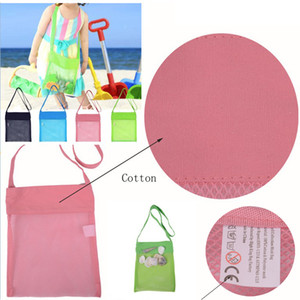 Wholesale 4 color Beach Mesh Pouch New Towel Mesh Carrying Box Tote Kid Ball Pouch Beach Storage Bag Shell Collection Mesh Bags