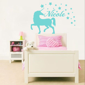 Unicorn Animal Wall Decal Personalized Name Vinyl Wall Stickers For living room bedroom Home Decoration