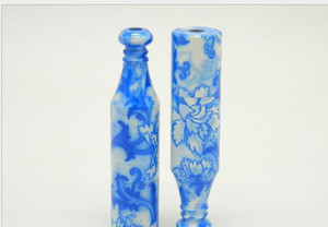 Wholesale Blue and White Porcelain China Wind Large Blue Porcelain Pipe Length Mm Pipe Snuff Bottle