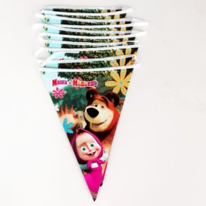Wholesale 1 set cute new masha and bear Theme Cartoon Party Set flag banner Birthday child Shower Party Decoration
